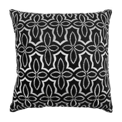 Moroccan Patterned Cotton Throw Pillow Color: Silver / Black