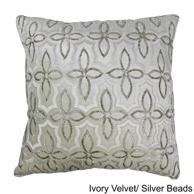 Moroccan Patterned Cotton Throw Pillow Color: Silver / Ivory