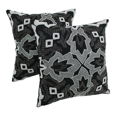 Symmetrical Floral Cotton Throw Pillow Color: White / Black