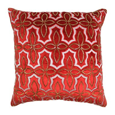 Moroccan Patterned Cotton Throw Pillow Color: Gold / Red