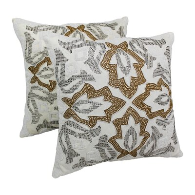 Symmetrical Floral Cotton Throw Pillow Color: Gold / Ivory