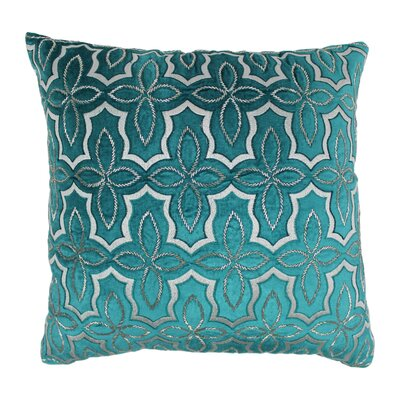 Moroccan Patterned Cotton Throw Pillow Color: Silver / Teal