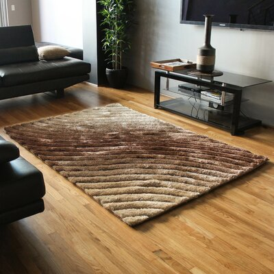 Curving Waves Textured Gradated Shag Beige/Brown Area Rug