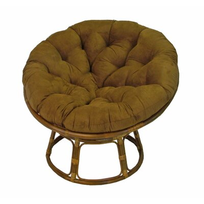Papasan Lounge Chair Cushion Size: 48 W x 48 D, Fabric: Saddle Brown