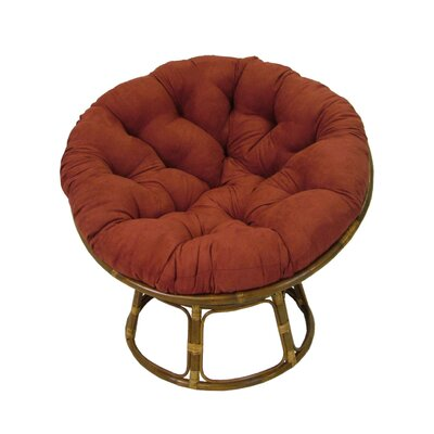 Papasan Lounge Chair Cushion Fabric: Cardinal Red, Size: 52 W x 52 D