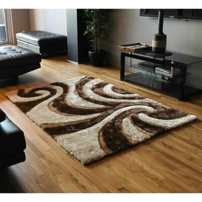 Elegant Swirls Shag Beige/Brown Area Rug