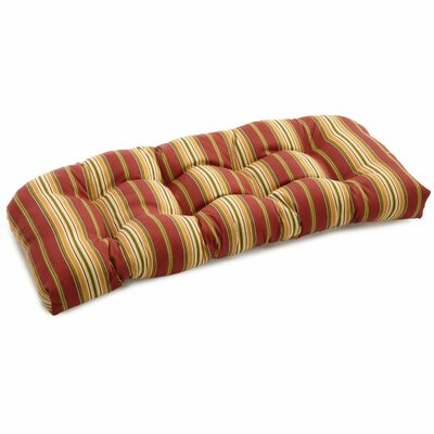 Patio Outdoor Loveseat Cushion Fabric: Kingsley Stripe Ruby