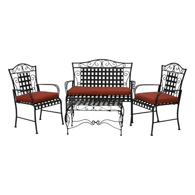 3 Piece Outdoor Dining Chair and Loveseat Cushion Set Fabric: Paprika