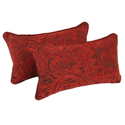 Corded Scrolled Floral Lumbar Pillow
