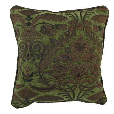 18-inch Corded Green Damask Jacquard Chenille Throw Pillow