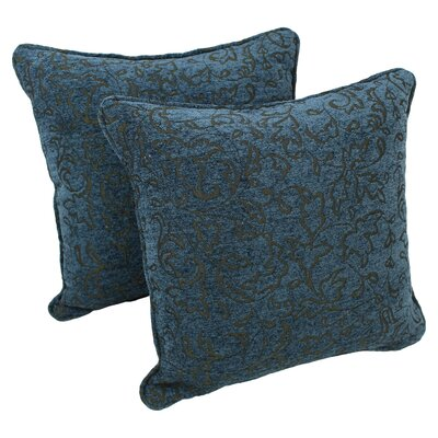 18-inch Corded Blue Floral Jacquard Chenille Throw Pillow