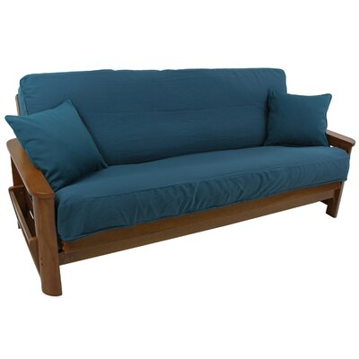 Premium Box Cushion Futon Slipcover Upholstery: Aqua Blue
