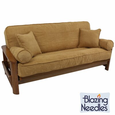 Double-Corded Box Cushion Futon Slipcover Upholstery: Camel