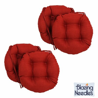 Blazing Needles 16-inch Round Outdoor Chair Cushions Fabric: Paprika