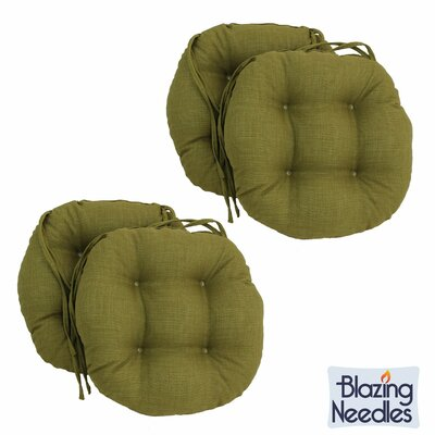 Blazing Needles 16-inch Round Outdoor Chair Cushions Fabric: Tangerine Dream