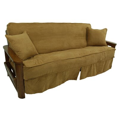 3 Piece Microsuede Futon Skirted Slipcover Upholstery: Black
