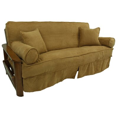 5 Piece Futon Skirted Slipcover Set Upholstery: Saddle Brown