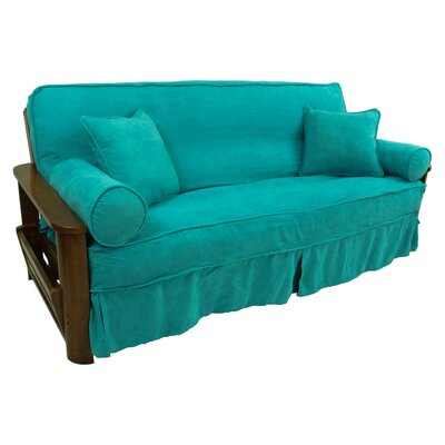 5 Piece Futon Skirted Slipcover Set Upholstery: Aqua Blue
