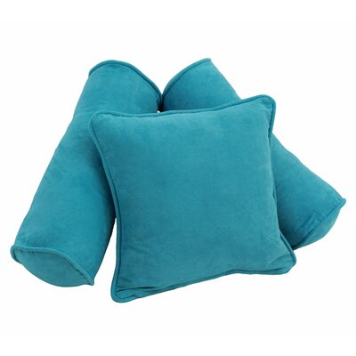 3 Piece Microsuede Pillow Set Color: Aqua Blue