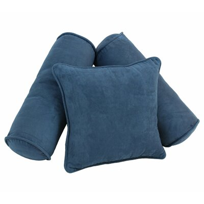 3 Piece Microsuede Pillow Set Color: Indigo