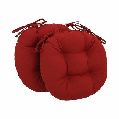 Dining Chair Cushion Fabric: Red
