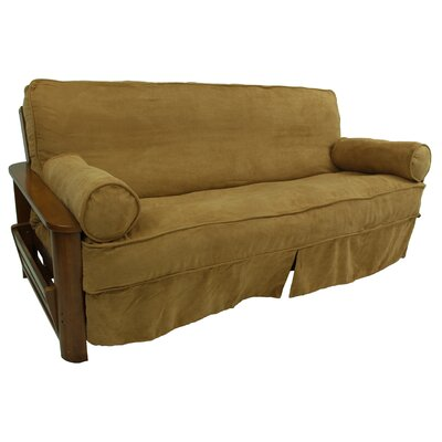 Box Cushion Futon Slipcover Fabric: Black