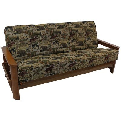 Tapestry Box Cushion Futon Slipcover Color: Checkered Scroll