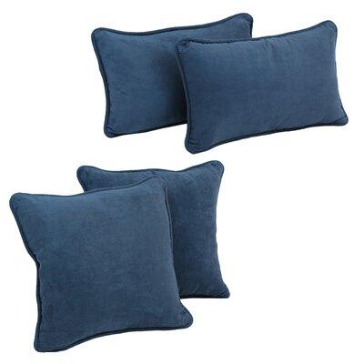 Karin 4 Piece Microsuede Pillow Set Color: Indigo