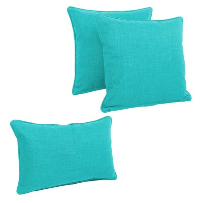 Corded Outdoor Pillow Set Fabric: Aqua Blue