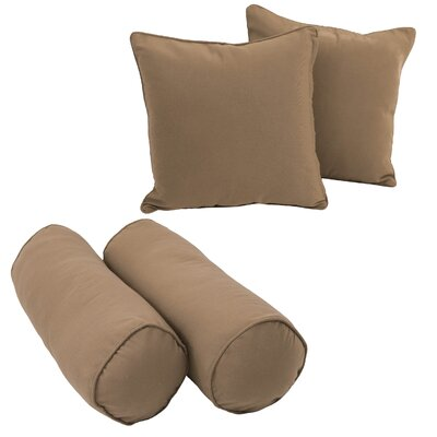 Blazing Needles Solid Twill Throw Pillows 4 Piece Set Fabric: Toffee