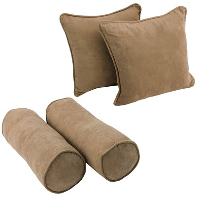 4 Piece Microsuede Throw/Bolster Pillow Set Fabric: Java
