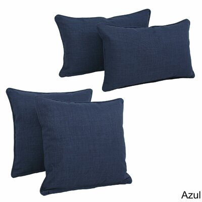 Juliet 4 Piece Outdoor Throw Pillows Set Color: Azul