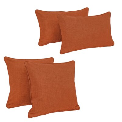 Blazing Needles Soft Home Furnishings 4 Piece Outdoor Throw Pillows Set Color: Cinnamon