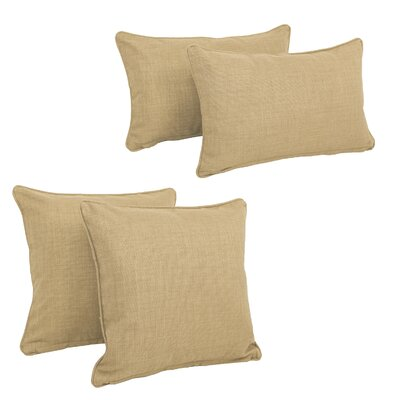 Blazing Needles Soft Home Furnishings 4 Piece Outdoor Throw Pillows Set Color: Sandstone
