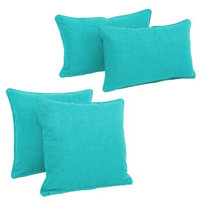 Blazing Needles Soft Home Furnishings 4 Piece Outdoor Throw Pillows Set Color: Aqua Blue