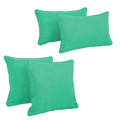 Blazing Needles Soft Home Furnishings 4 Piece Outdoor Throw Pillows Set Color: Emerald