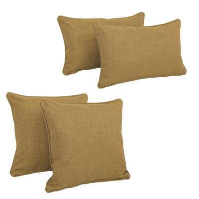Blazing Needles Soft Home Furnishings 4 Piece Outdoor Throw Pillows Set Color: Mocha