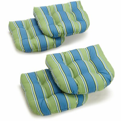 Outdoor 20 Wicker Chair Cushions Set Fabric: Haliwall Caribbean