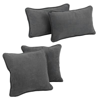 Karin 4 Piece Microsuede Pillow Set Color: Grey