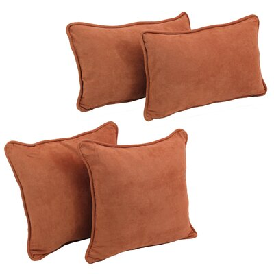 4 Piece Microsuede Pillow Set Color: Spice