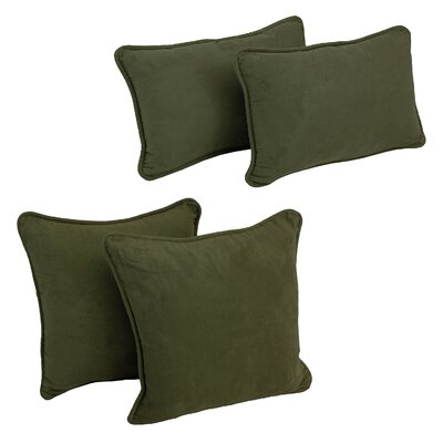 4 Piece Microsuede Pillow Set Color: Hunter Green