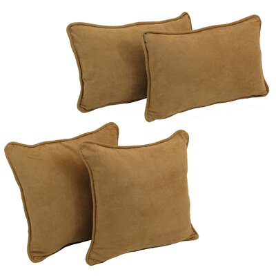 4 Piece Microsuede Pillow Set Color: Camel