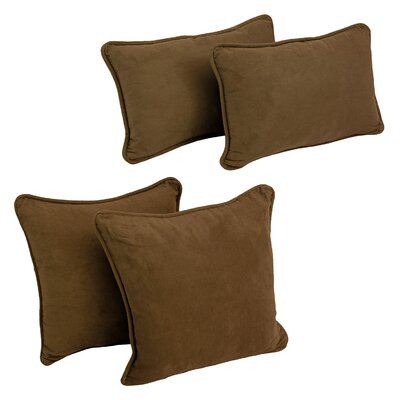 Karin 4 Piece Microsuede Pillow Set Color: Chocolate