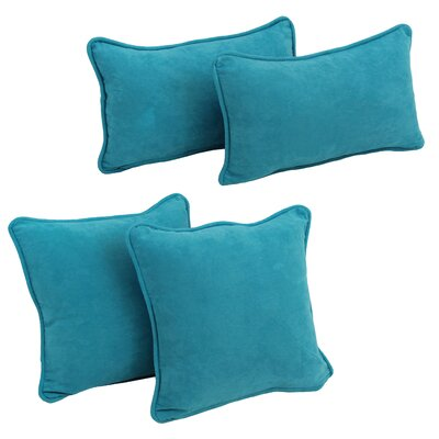 4 Piece Microsuede Pillow Set Color: Aqua Blue