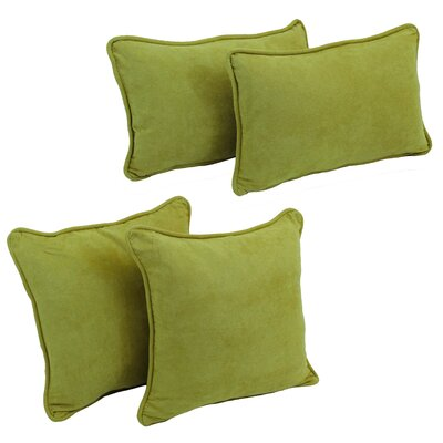 4 Piece Microsuede Pillow Set Color: Mojito Lime