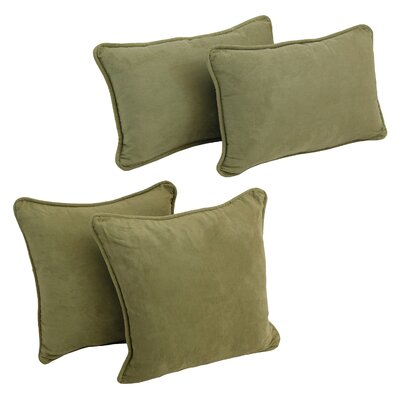 4 Piece Microsuede Pillow Set Color: Sage