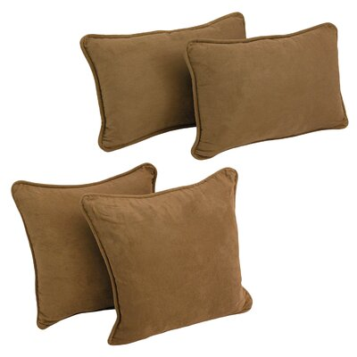 4 Piece Microsuede Pillow Set Color: Saddle Brown