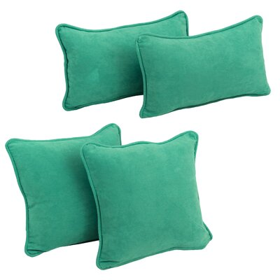 Karin 4 Piece Microsuede Pillow Set Color: Emerald