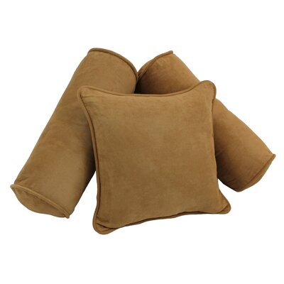 3 Piece Microsuede Pillow Set Color: Camel