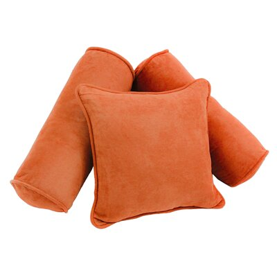 3 Piece Microsuede Pillow Set Color: Tangerine Dream